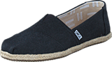 Toms - Seasonal Classics Black Washed Canvas Rope Sole